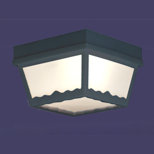 Thomas 1 Light Matte Black Finish Plastic Outdoor Ceiling Light With White Plastic Diffuser Sl7577