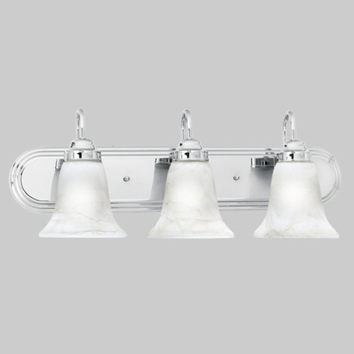 Thomas Transitionally Styled 3 Light Bath Fixture In Chrome Finish With Swirl Alabaster Style Glass Sl75834