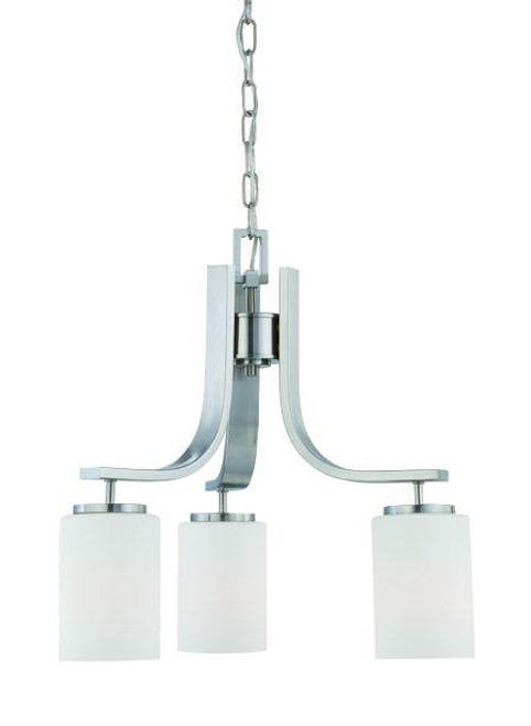 Chandeliers By Thomas Pendenza 20in Three-light chandelier in Brushed Nickel finish with etched glass SL806878