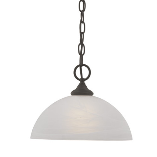 Chandeliers/Pendant Lights By Thomas One-light pendant in Painted Bronze finish with alabaster style glass shade SL823463