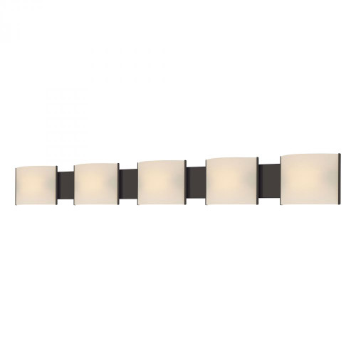Alico Pannelli 5 Light Vanity In Oil Rubbed Bronze And Hand-Molded White Opal Glass Bv715-10-45