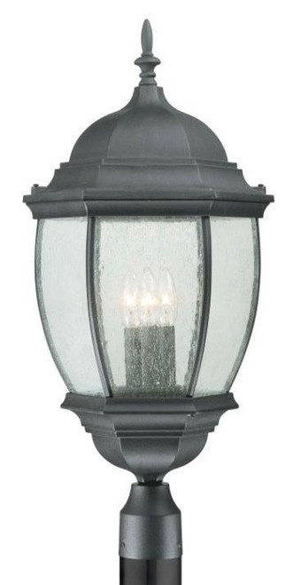 Thomas 1 Light Die-Cast Aluminum Outdoor Post Lantern In Matte Black Finish Sl90107