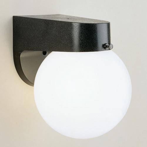 Thomas 1 Light Durable Black Plastic Outdoor Wall Fixture With White Acrylic Globe Sl94357