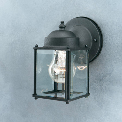 Thomas Essentials 7.5In 1 Light Black Finish Outdoor Wall Lantern With Clear BeveLED Glass Panels Sl94697