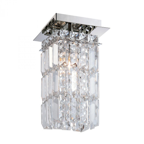 Alico King 1 Light Flushmount In Chrome And Clear Crystal Glass Fm1201-0-15