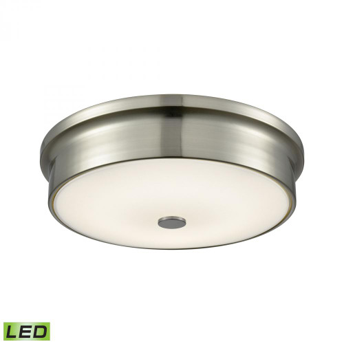 Alico Towne Round LED Flushmount In Satin Nickel And Opal Glass - Small Fml4225-10-16M