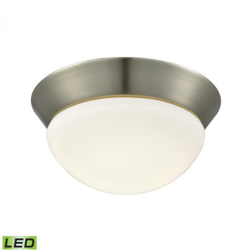 Alico Contours 1 Light LED Flushmount In Satin Nickel And Opal Glass - Small Fml7125-10-16M