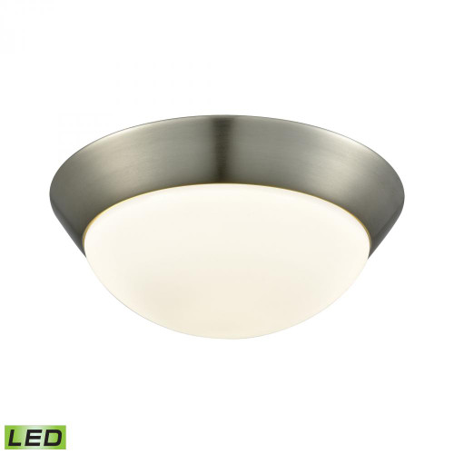 Alico Contours 1 Light LED Flushmount In Satin Nickel And Opal Glass - Medium Fml7150-10-16M