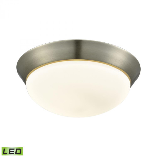 Alico Contours 1 Light LED Flushmount In Satin Nickel And Opal Glass - Large Fml7175-10-16M