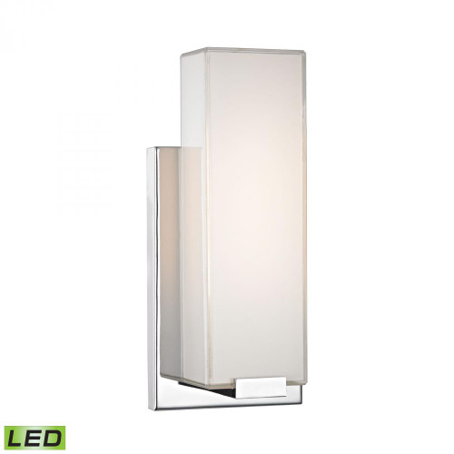 Alico Midtown 1 Light Wall Sconce In Chrome And Paint White Glass Wsl1601-Pw-15
