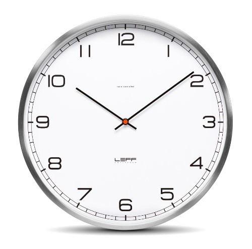 Leff Amsterdam Wall Clock One35 Stainless Steel White Arabic