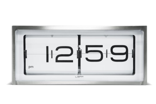 Leff Amsterdam Wall Or Desk Clock Brick Stainless Steel 24H White