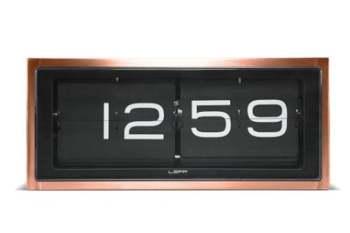 Leff Amsterdam Wall Or Desk Clock Brick Copper 24H Black