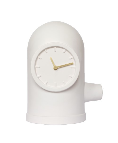 Leff Amsterdam Table Clock Base White With Brass