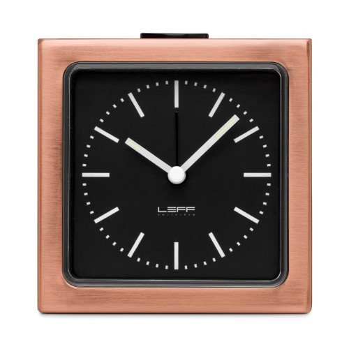 Leff Amsterdam Alarm Clock Block Copper Black Index