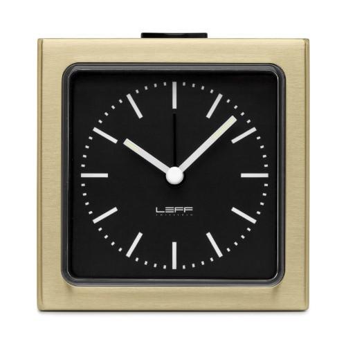 Leff Amsterdam Alarm Clock Block Brass Black Index