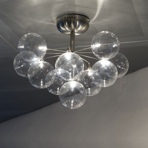 Harco Loor Cluster 11 Light stainless steel&glass Semi-Flushmount Ceiling Light-CLUSTERPL11