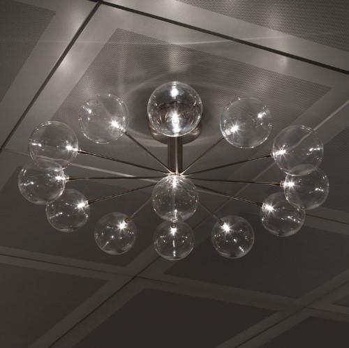 Harco Loor Cluster 13 Light stainless steel&glass LED Ceiling Light-CLUSTERWHEELPL13-LED