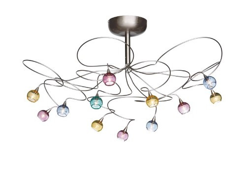 Harco Loor Cluster 12 Light stainless steel&glass Semi-Flushmount Ceiling Light-COLORBALLPL12