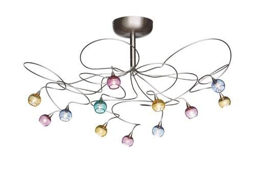 Harco Loor Cluster 12 Light stainless steel&glass LED Ceiling Light-COLORBALLPL12-LED