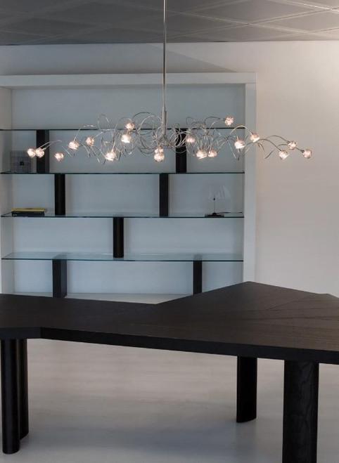 Harco Loor Jewel Double 20 Light LED stainless steel&glass Chandelier-METALBALLOVALHL20-LED