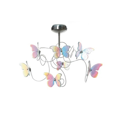 Harco Loor Papillon IRI 7 Light iridescent Semi-Flushmount Ceiling Light-PAPILLONIRIPL7