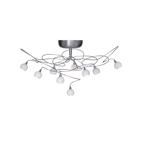 Harco Loor Snowball 9 Light stainless steel&glass Semi-Flushmount Ceiling Light-SNOWBALLPL9