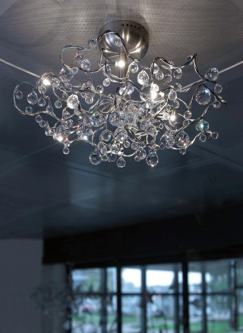 Harco Loor Tiara Diamond Chandelier 9 Light stainless steel&glass Semi-Flushmount Ceiling Light-TIARADIAMONDPL9