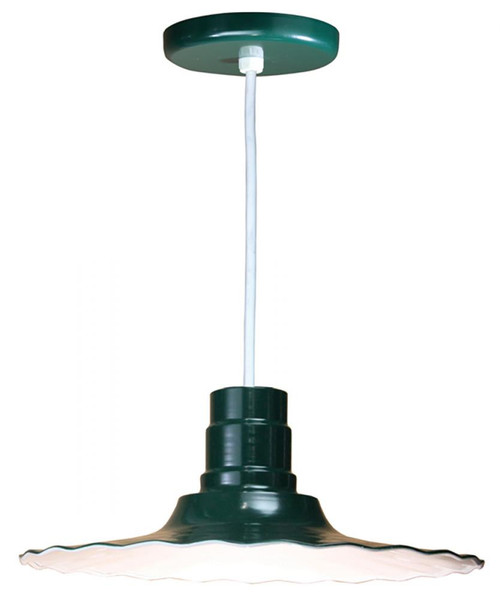 """Chandeliers/Pendant Lights By American Nail Plate 18"""" Scallop Edged Radial Shade in Forest Green mounted on a 8' White cord using a medium base R918-WHC-42"""