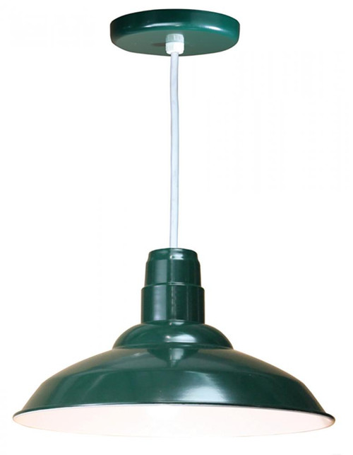 American Nail Plate 16 Inch Nostalgic, Industrial Barn Warehouse shade Forest Green Pendant Light-W516-WHC-42