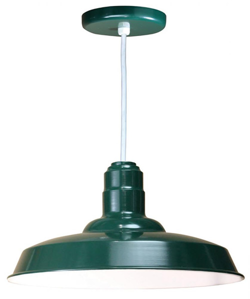 "Chandeliers/Pendant Lights By American Nail Plate 18"" Warehouse reflector Barn Style Shade in Marine Grade Forest Green on an 8' White cord W518-WHC-102"