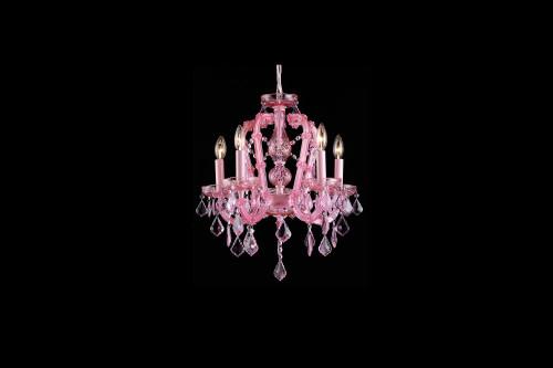 Avenue Light Sunset Pl 5 Light Pink Mini Chandelier-HF1037-PNK