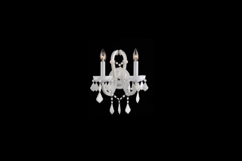 Avenue Light Casablanca Way 2 Light White Crystal Wall Sconce Hf1041-Wht