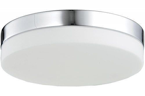Avenue Light Cermack St 1 Light Chrome Flushmount Drum Shade LED Ceiling Light-HF1107-CH