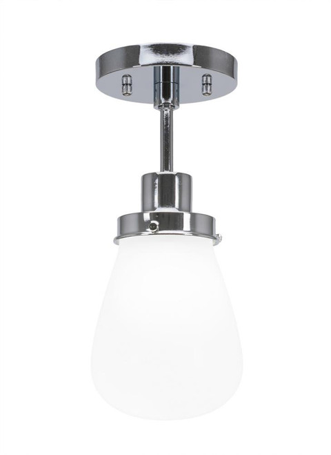 Toltec Meridian 1 Light Silver Semi-Flushmount Ceiling Light 1237-CH-470