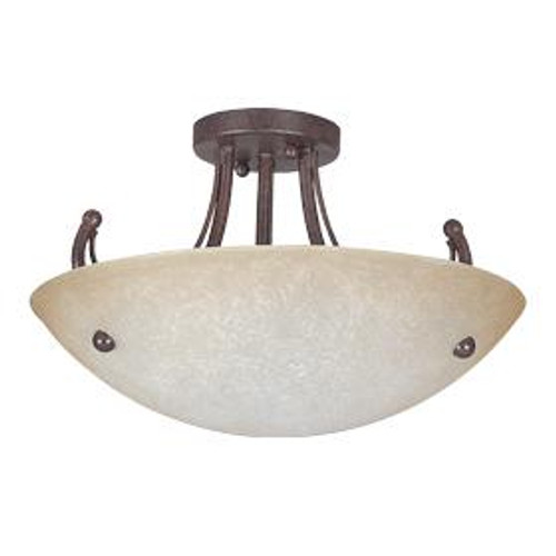 Sunset Tempest 3 Light Silver Semi-Flush Mount Ceiling Light F2473-53