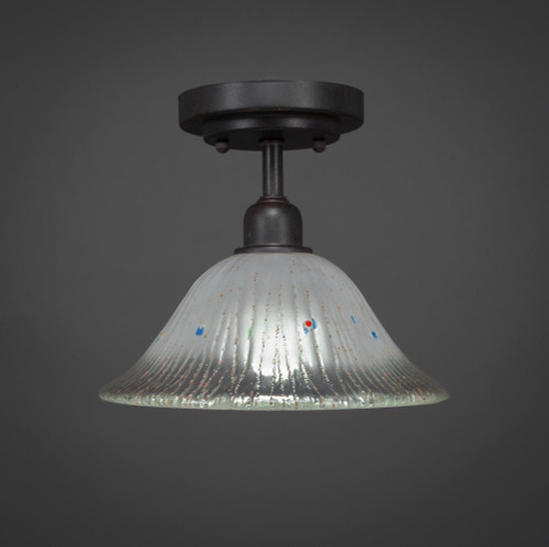 Toltec Vintage 1 Light 10 Inch Frosted Crystal Modern Semi-Flushmount Ceiling Light 280-DG-731