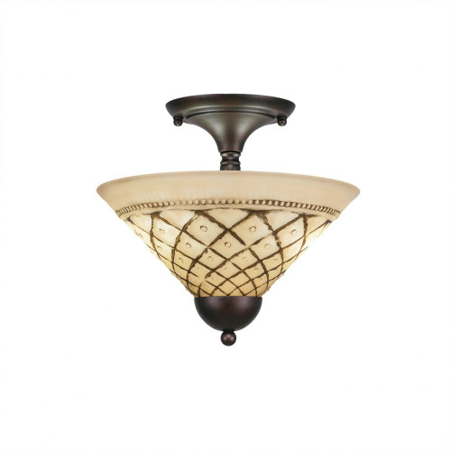 Toltec 2 Light 12 Inch Chocolate Icing Semi-Flush Mount Ceiling Light 120-BRZ-7182