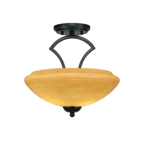 Toltec Zilo 2 Light 14 Inch Zilo Cayenne Linen Semi-Flushmount Ceiling Light 563-MB-683