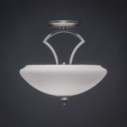 Toltec Zilo 2 Light 14 Inch Zilo White Linen Modern Semi-Flushmount Ceiling Light 563-GP-684