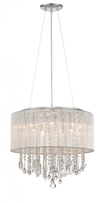 Avenue Light Beveryly Dr 6 Light Silver Silk String Chandelier-HF1502-SLV