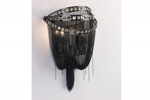 Avenue Light Wilshire Blvd Collection Black Chrome Chain And Smoke Crystal Wall Sconce Hf1607-Blk