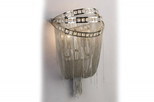 Avenue Light Wilshire Blvd Collection Polish Nickel Chain And Crystal Wall Sconce Hf1607-Nck