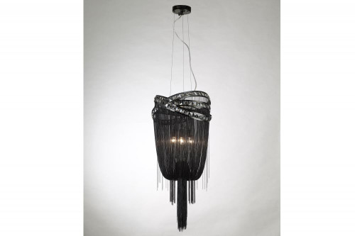 Avenue Light Wilshire Blvd Black Steel Chain Foyear Hanging Fixture In Chrome Hf1608-Blk