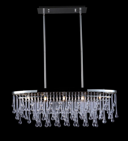 Avenue Light Hollywood Blvd 6 Light Nickel Linear Suspension Chandelier-HF1806-PN