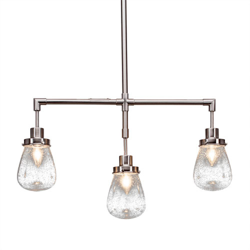 Toltec Meridian 3 Light Clear Bubble glass & Nickel Pendant Light-1243-BN-471