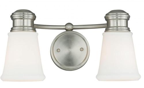 Vaxcel Malie 2-Light Frosted Opal & Satin Nickel Bathroom Vanity Light W0219