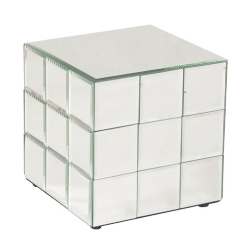 Howard Elliott Antares Short Mirrored Puzzle Cube Pedestal-11045