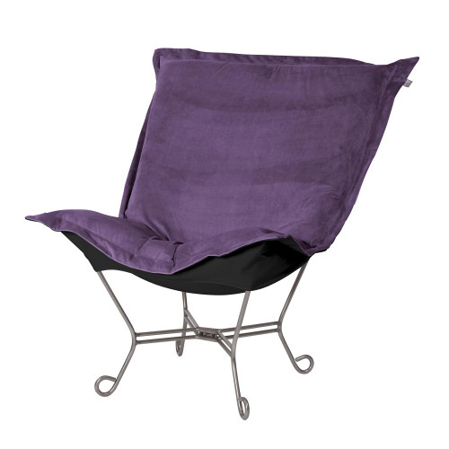 Howard Elliott Bella Eggplant/Black Puff Scroll Chair Titanium Frame-500-223