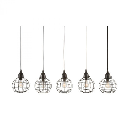 Dimond Wire Pendant 5 Light Black Linear Suspension Chandelier-225064